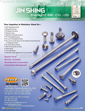 Slef Tapping Screws, Machine Screws, Chipboard Screws, Wood Screws, Taptite & Plastite Screws, PT Threaded Screws, High-Low Threaded Screws, Torx Drive with Security Pin Button Head Machine or Tapping Screws, Drywall Deck Screws, Self-Drilling Tek Screws, Allen Bolts, Carriage Bolts, Stainless Steel Wires for Screw-making