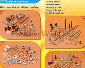 Double Thread Stud, Roofing Screw, Self-Drilling Screws, Automotive Fasteners, Bi-Metal Self Drilling Screws, Chipboard Screws, Container Screws, Flooring Panel Screws, Deck Screws, Double End Screws (Hanger Bolt), Drive Screws, Drywall Screws, Electronic Screws, Elevator Bolts, Flange Bolts (Screws), Furniture Screws (Connecting Bolts), Hex Head Cap Screws (Hex Bolts), Hex Head Machine Bolts, Hex Socket Cap Screws, Hex Socket Shoulder Screws, High Low Thread Screws, Machine Screws, Particle Board Screws, Roll Collated Screws, Roofing Screws, Screws & Washers Assembled (Sems)(ABS METAL INDUSTRY CORP. )