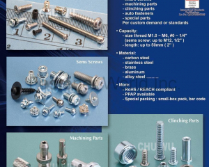 Electronic Fasteners, Sems Screw, Micro Screw, Machining Part, Clinching Part, Special screw(CHU WU INDUSTRIAL CO., LTD. )