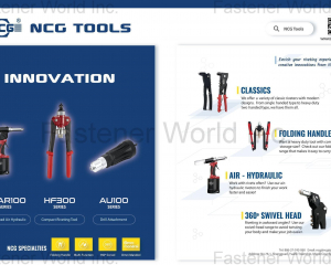 SHAR100 (Swivel Head Air Hydraulic), HF300 (Compact Riveting Tool), AU100 (Drill Attachment), Riveters, Folding Handle, 360 Swivel Head(NCG TOOLS INDUSTRY CO., LTD. )