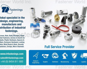 Screws, Nuts, Bolts, Washers, Sheet Metal Fasteners, Screws & Inserts for Plastic, Plastic Hardware, Spacers & Pillars, Enclosure Hardware, Locking Nuts, Blind Rivets & Nuts, Security Fasteners, Circlips, Micro-Diameter(TR FASTENINGS LTD.)